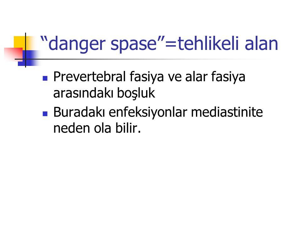 danger spase =tehlikeli alan Prevertebral fasiya ve alar fasiya arasındakı boşluk Buradakı enfeksiyonlar mediastinite neden ola bilir.