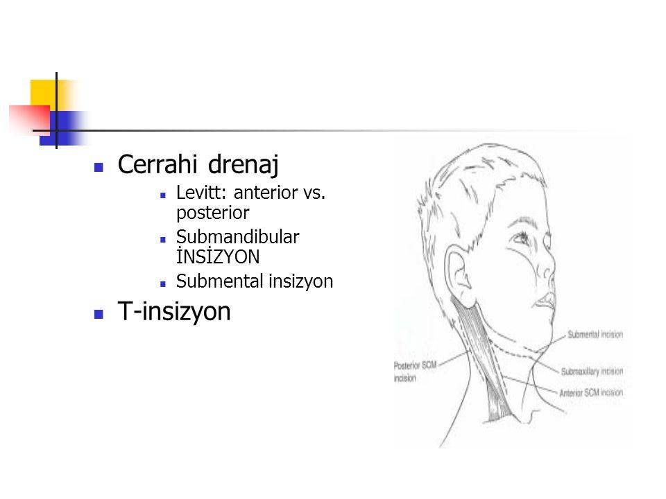 Cerrahi drenaj Levitt: anterior vs. posterior Submandibular İNSİZYON Submental insizyon T-insizyon