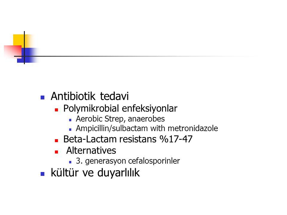 Antibiotik tedavi Polymikrobial enfeksiyonlar Aerobic Strep, anaerobes Ampicillin/sulbactam with metronidazole Beta-Lactam resistans %17-47 Alternatives 3.