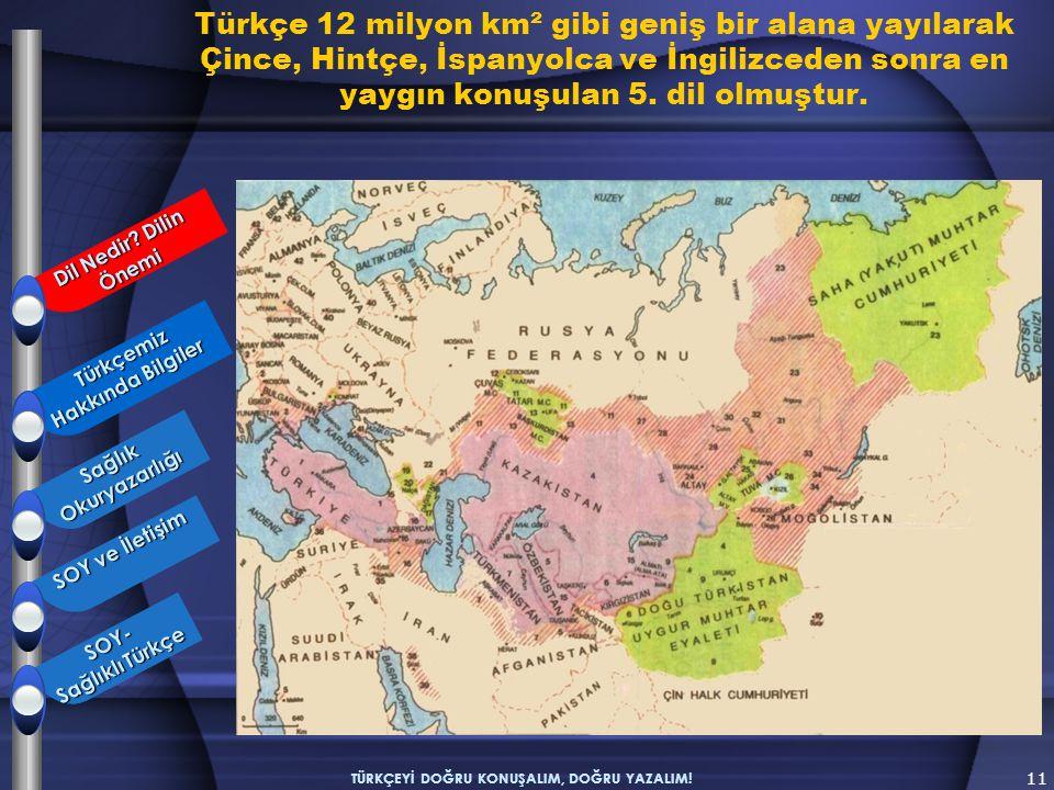 Türkçe 12 milyon km² gibi geniş bir alana yayılarak Çince, Hintçe, İspanyolca ve İngilizceden sonra en yaygın konuşulan 5. dil olmuştur. 11 TÜRKÇEYİ D