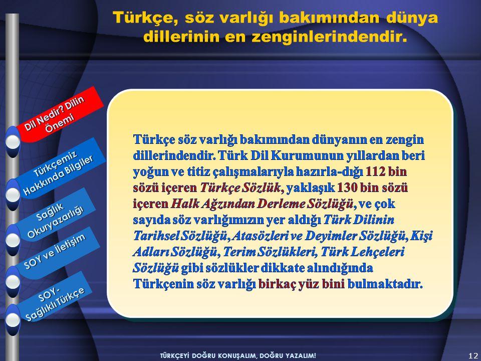 12 TÜRKÇEYİ DOĞRU KONUŞALIM, DOĞRU YAZALIM! Türkçemiz Hakkında Bilgiler Türkçemiz Hakkında Bilgiler SağlıkOkuryazarlığı SOY ve İletişim SOY- Sağlıklı