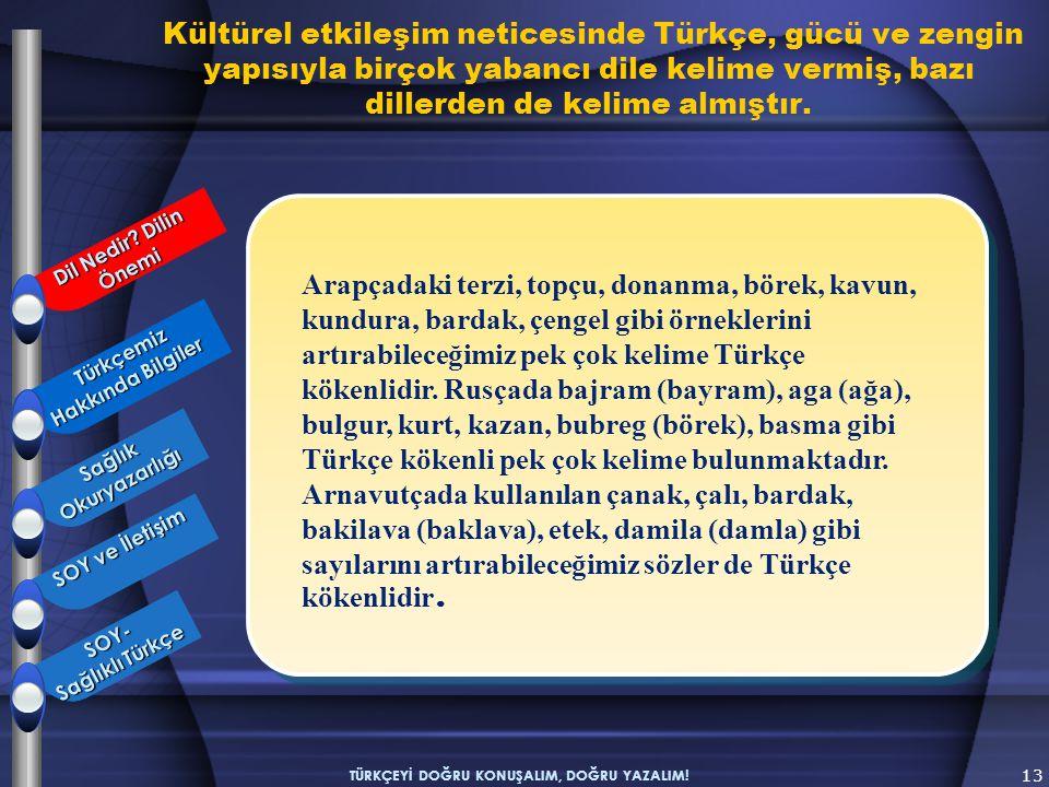 Kültürel etkileşim neticesinde Türkçe, gücü ve zengin yapısıyla birçok yabancı dile kelime vermiş, bazı dillerden de kelime almıştır. 13 TÜRKÇEYİ DOĞR