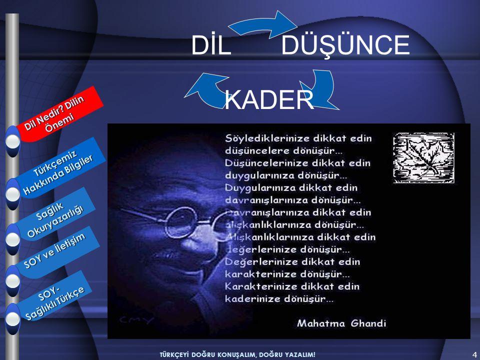 4 TÜRKÇEYİ DOĞRU KONUŞALIM, DOĞRU YAZALIM! DÜŞÜNCE KADER DİL Türkçemiz Hakkında Bilgiler Türkçemiz Hakkında Bilgiler SağlıkOkuryazarlığı SOY ve İletiş