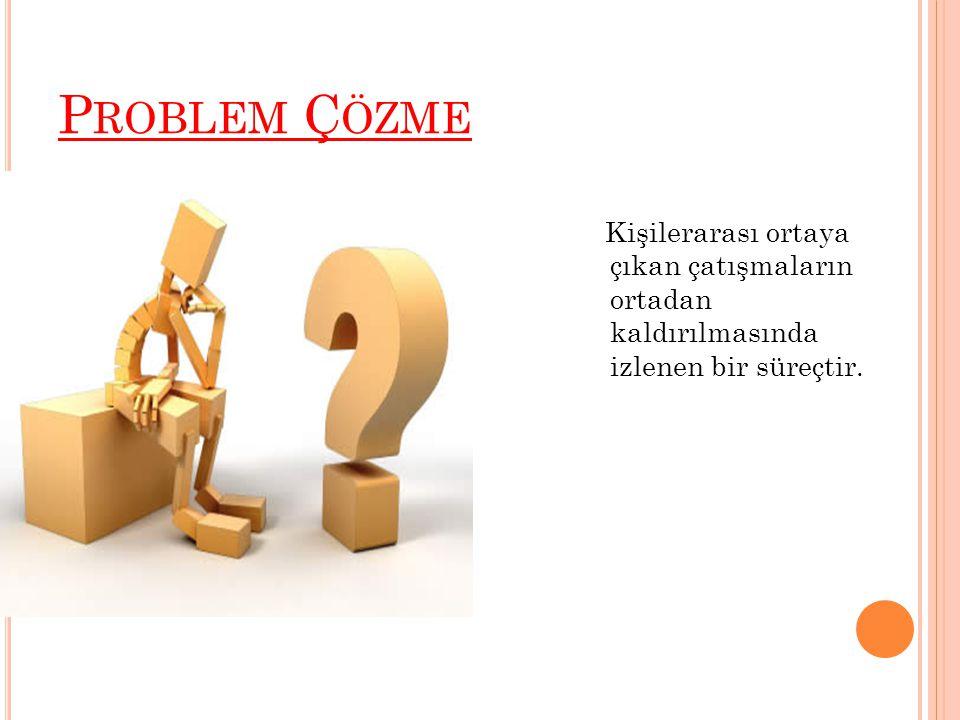 P ROBLEM Ç ÖZME Kişilerarası ortaya çıkan çatışmaların ortadan kaldırılmasında izlenen bir süreçtir.