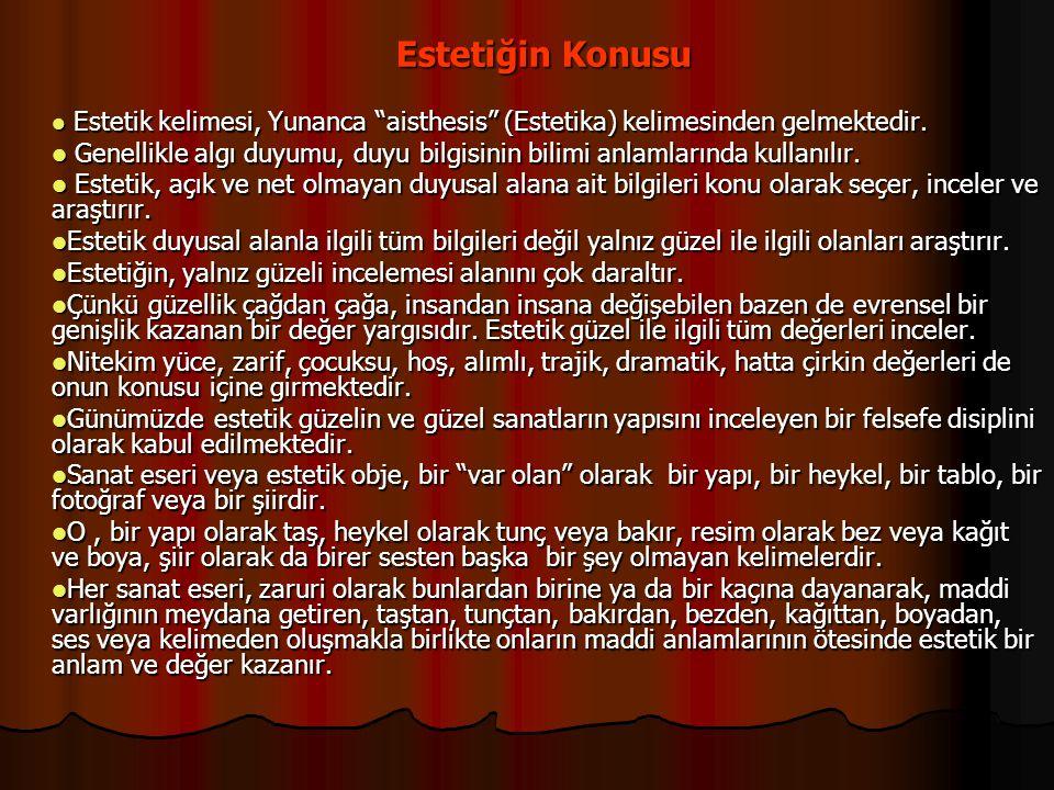 """Estetiğin Konusu Estetik kelimesi, Yunanca """"aisthesis"""" (Estetika) kelimesinden gelmektedir. Estetik kelimesi, Yunanca """"aisthesis"""" (Estetika) kelimesin"""