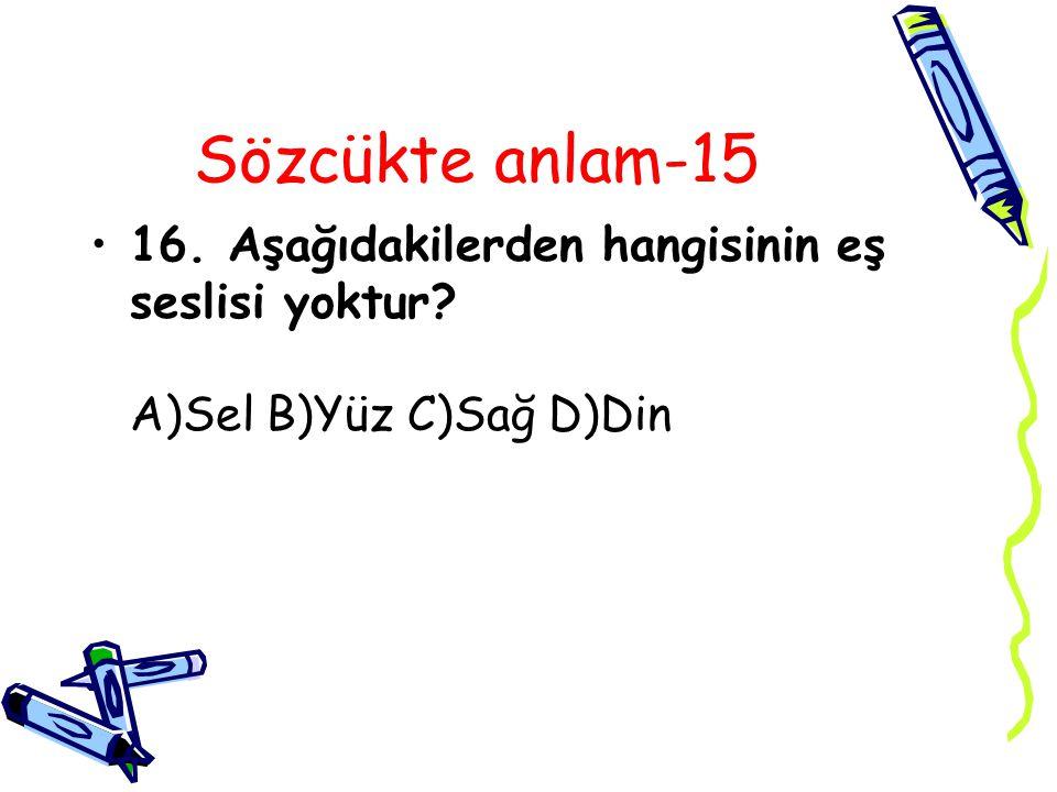 Sözcükte anlam-15 16. Aşağıdakilerden hangisinin eş seslisi yoktur? A)Sel B)Yüz C)Sağ D)Din