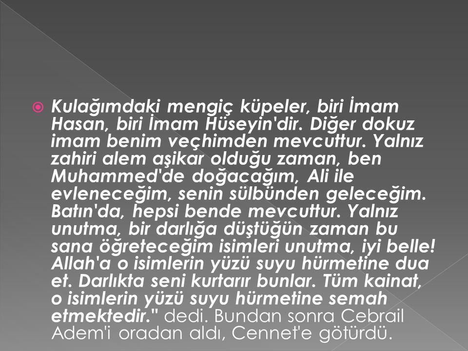  Kulağımdaki mengiç küpeler, biri İmam Hasan, biri İmam Hüseyin'dir. Diğer dokuz imam benim veçhimden mevcuttur. Yalnız zahiri alem aşikar olduğu zam