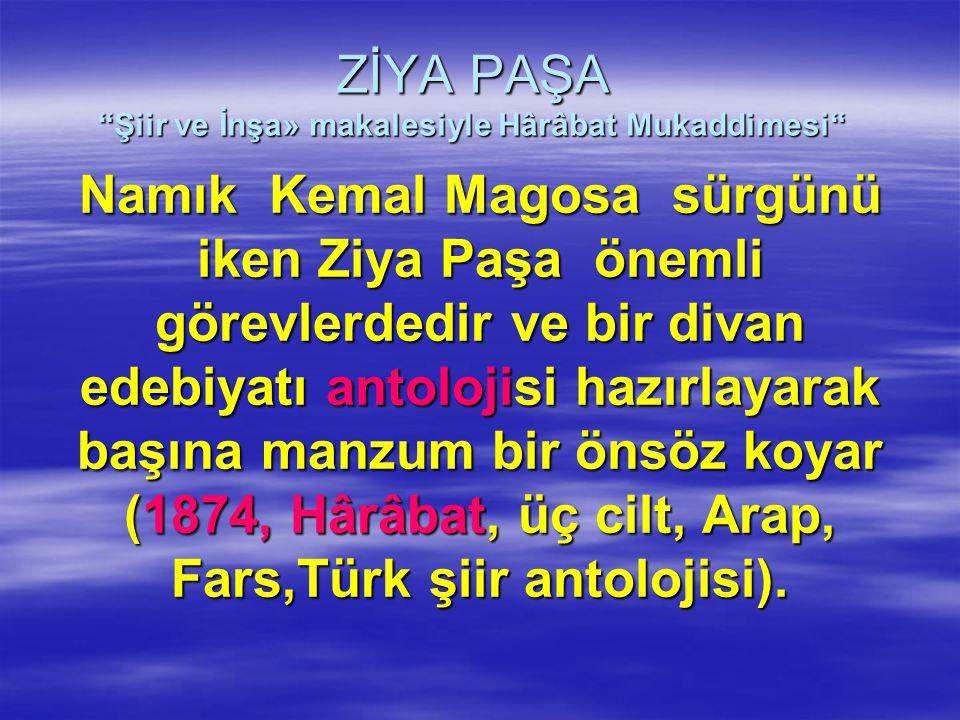 """ZİYA PAŞA """"Şiir ve İnşa» makalesiyle Hârâbat Mukaddimesi"""" Namık Kemal Magosa sürgünü iken Ziya Paşa önemli görevlerdedir ve bir divan edebiyatı antolo"""