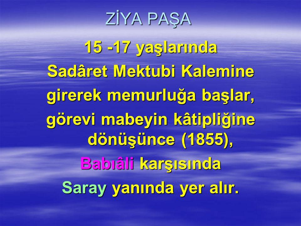 ZİYA PAŞA 15 -17 yaşlarında Sadâret Mektubi Kalemine girerek memurluğa başlar, görevi mabeyin kâtipliğine dönüşünce (1855), Babıâli karşısında Saray y