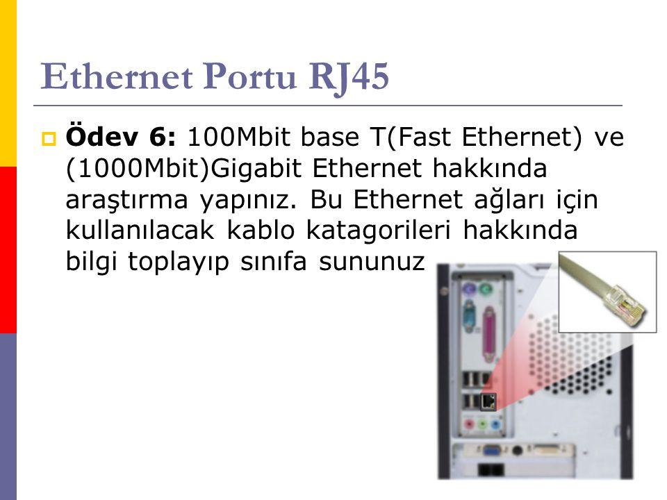 Ethernet Portu RJ45  Ödev 6: 100Mbit base T(Fast Ethernet) ve (1000Mbit)Gigabit Ethernet hakkında araştırma yapınız. Bu Ethernet ağları için kullanıl