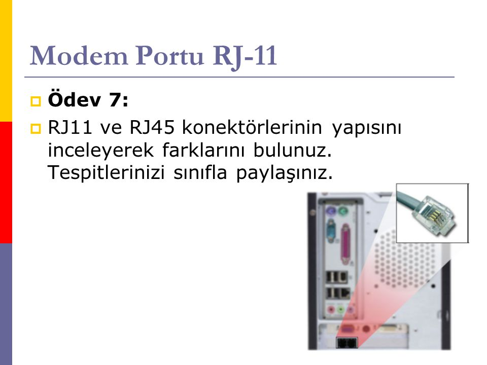 Modem Portu RJ-11  Ödev 7:  RJ11 ve RJ45 konektörlerinin yapısını inceleyerek farklarını bulunuz. Tespitlerinizi sınıfla paylaşınız.