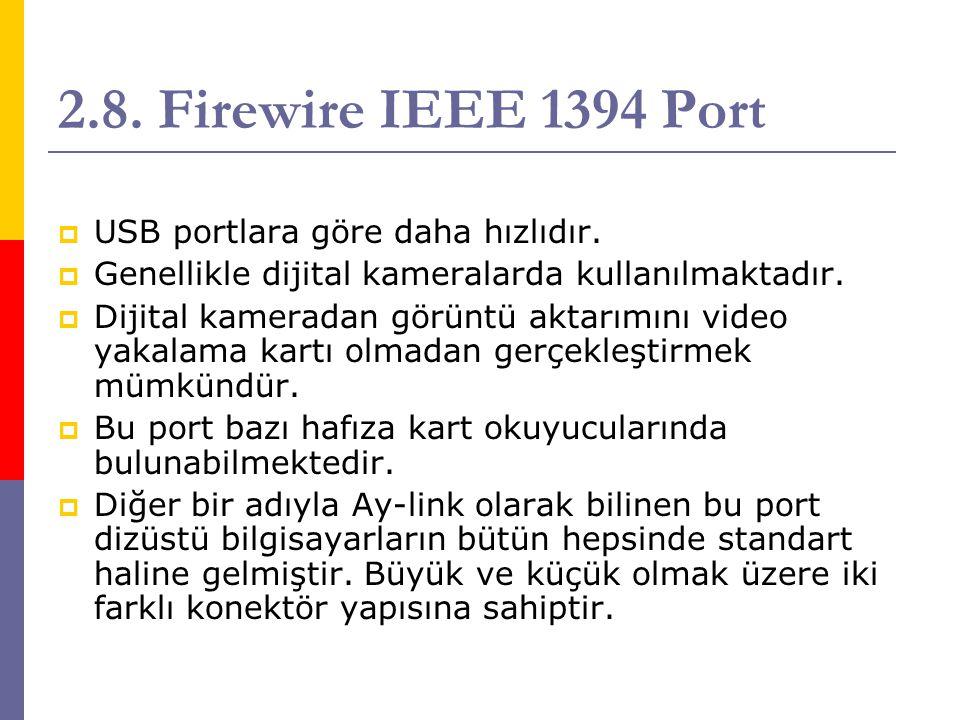 2.8. Firewire IEEE 1394 Port  USB portlara göre daha hızlıdır.  Genellikle dijital kameralarda kullanılmaktadır.  Dijital kameradan görüntü aktarım
