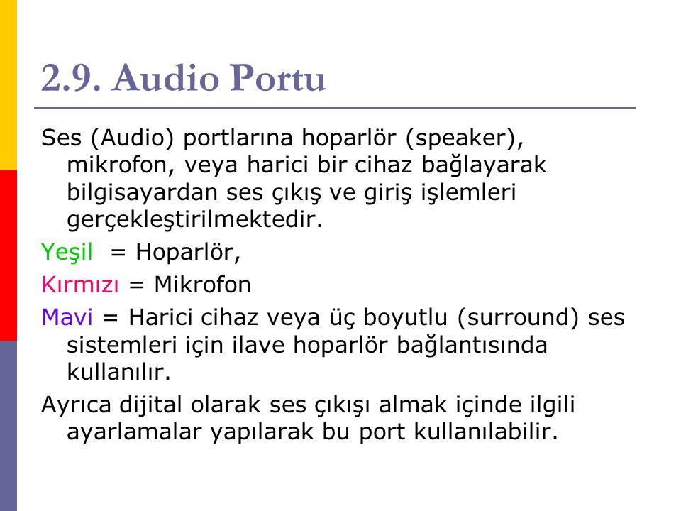 2.9. Audio Portu Ses (Audio) portlarına hoparlör (speaker), mikrofon, veya harici bir cihaz bağlayarak bilgisayardan ses çıkış ve giriş işlemleri gerç