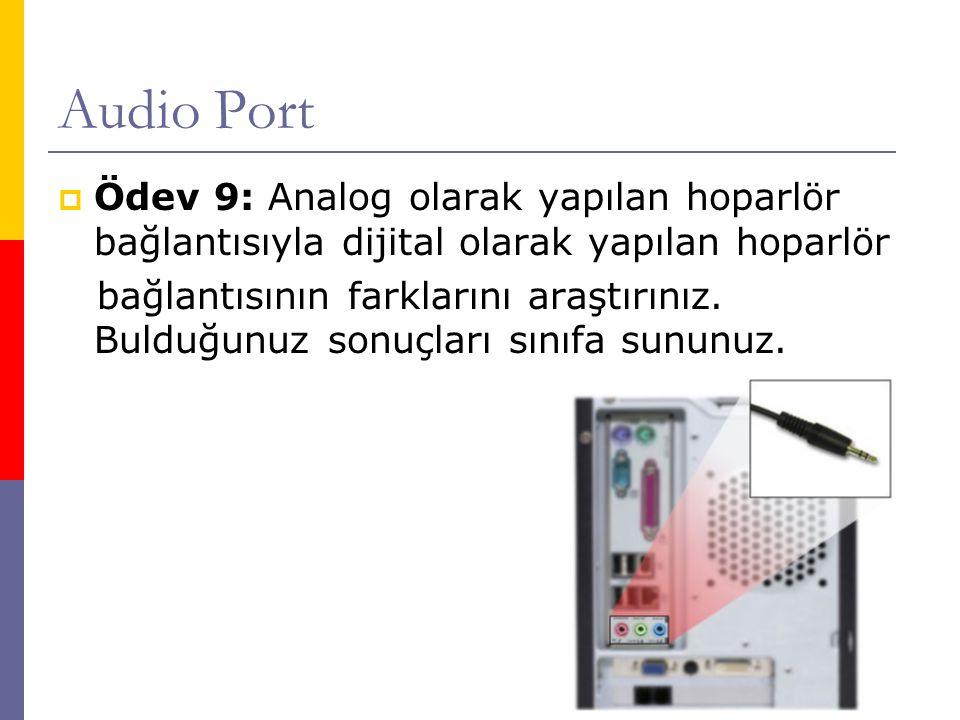 Audio Port  Ödev 9: Analog olarak yapılan hoparlör bağlantısıyla dijital olarak yapılan hoparlör bağlantısının farklarını araştırınız. Bulduğunuz son