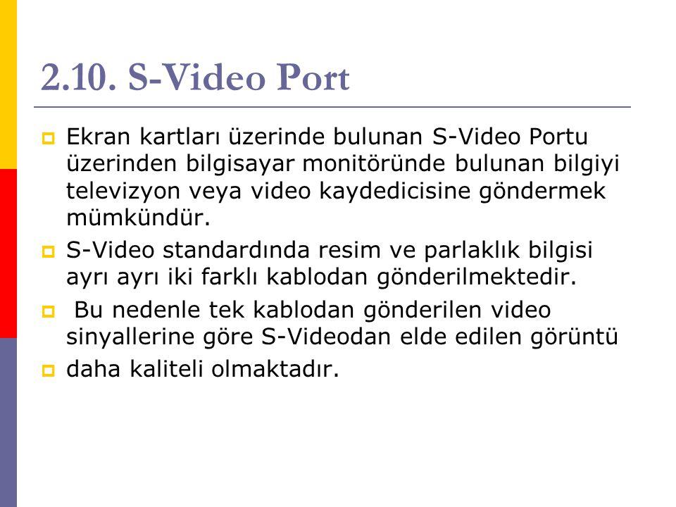 2.10. S-Video Port  Ekran kartları üzerinde bulunan S-Video Portu üzerinden bilgisayar monitöründe bulunan bilgiyi televizyon veya video kaydedicisin