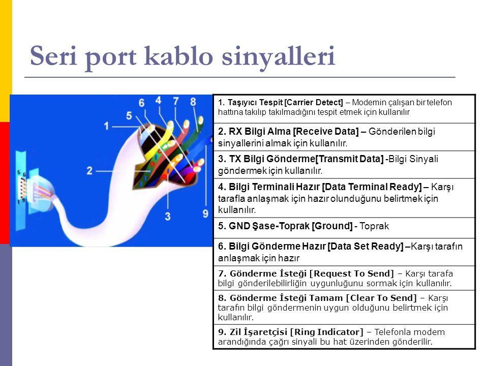 Seri port kablo sinyalleri 1. Taşıyıcı Tespit [Carrier Detect] – Modemin çalışan bir telefon hattına takılıp takılmadığını tespit etmek için kullanılı