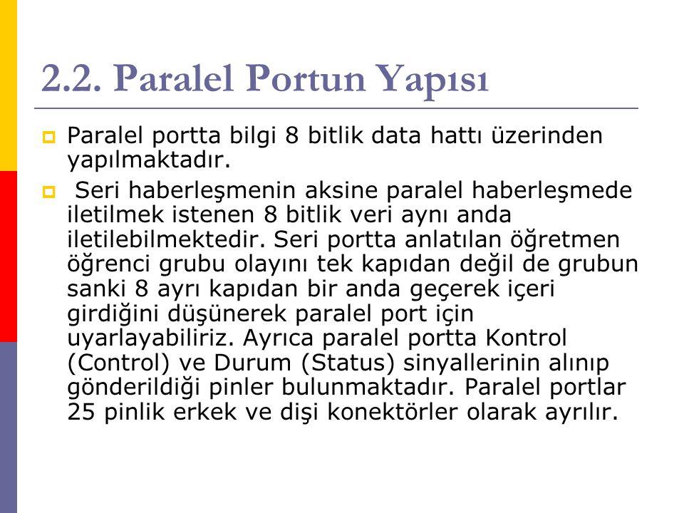 2.2. Paralel Portun Yapısı  Paralel portta bilgi 8 bitlik data hattı üzerinden yapılmaktadır.  Seri haberleşmenin aksine paralel haberleşmede iletil