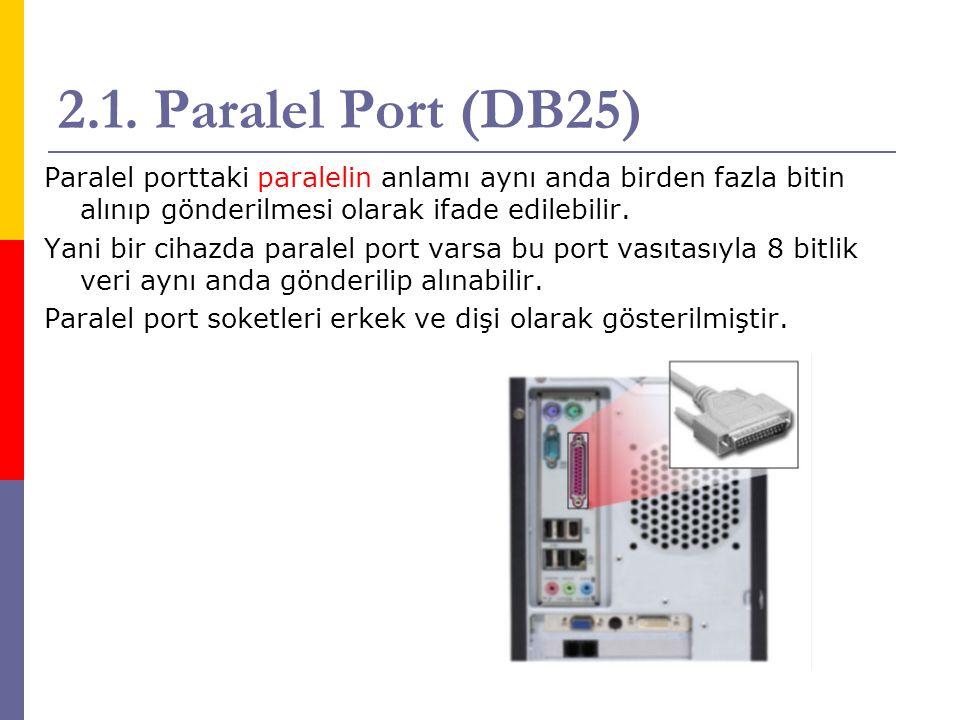2.1. Paralel Port (DB25) Paralel porttaki paralelin anlamı aynı anda birden fazla bitin alınıp gönderilmesi olarak ifade edilebilir. Yani bir cihazda