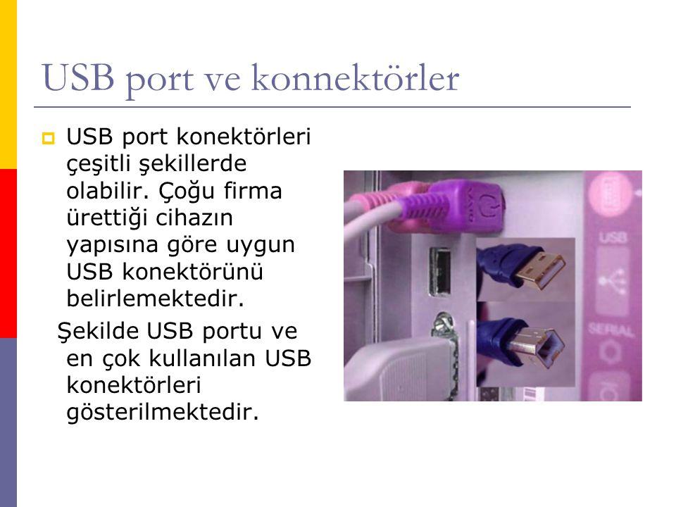 USB port ve konnektörler  USB port konektörleri çeşitli şekillerde olabilir. Çoğu firma ürettiği cihazın yapısına göre uygun USB konektörünü belirlem
