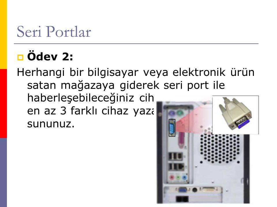 Seri Portlar  Ödev 2: Herhangi bir bilgisayar veya elektronik ürün satan mağazaya giderek seri port ile haberleşebileceğiniz cihazları araştırınız ve