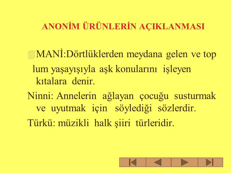 ANONİM ÜRÜNLERİNİN AÇIKLAMALARI Bilmeceler gibi yanılmaca, yakıştırma ve te kerlemeler de Türk toplumunun değer yargı larını, zekâ oyunlarını verdiği önemi, şakacı ve esprili yönünü yansıtırlar.
