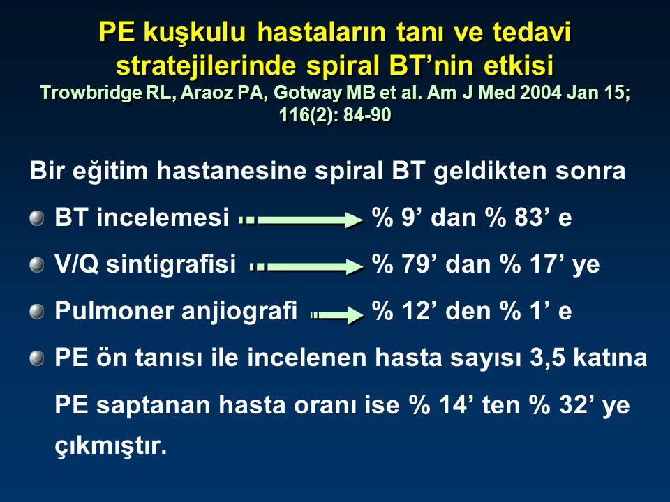 PE kuşkulu hastaların tanı ve tedavi stratejilerinde spiral BT'nin etkisi Trowbridge RL, Araoz PA, Gotway MB et al. Am J Med 2004 Jan 15; 116(2): 84-9