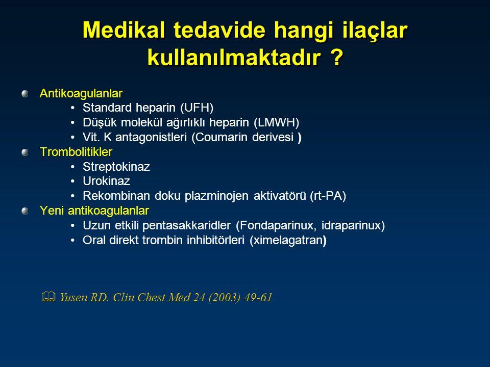 Medikal tedavide hangi ilaçlar kullanılmaktadır ? Antikoagulanlar Standard heparin (UFH) Düşük molekül ağırlıklı heparin (LMWH) Vit. K antagonistleri