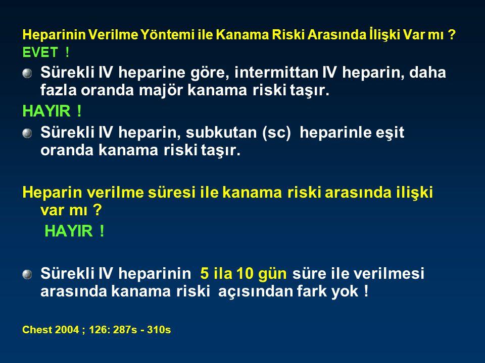 Heparinin Verilme Yöntemi ile Kanama Riski Arasında İlişki Var mı ? EVET ! Sürekli IV heparine göre, intermittan IV heparin, daha fazla oranda majör k