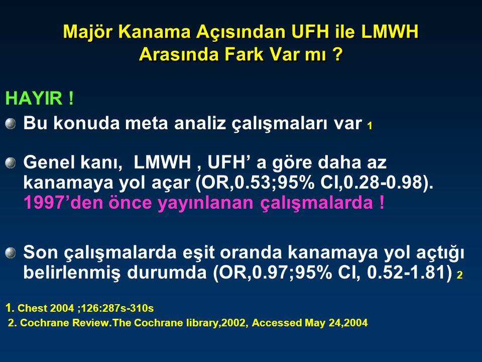 Majör Kanama Açısından UFH ile LMWH Arasında Fark Var mı ? HAYIR ! Bu konuda meta analiz çalışmaları var 1 Genel kanı, LMWH, UFH' a göre daha az kanam