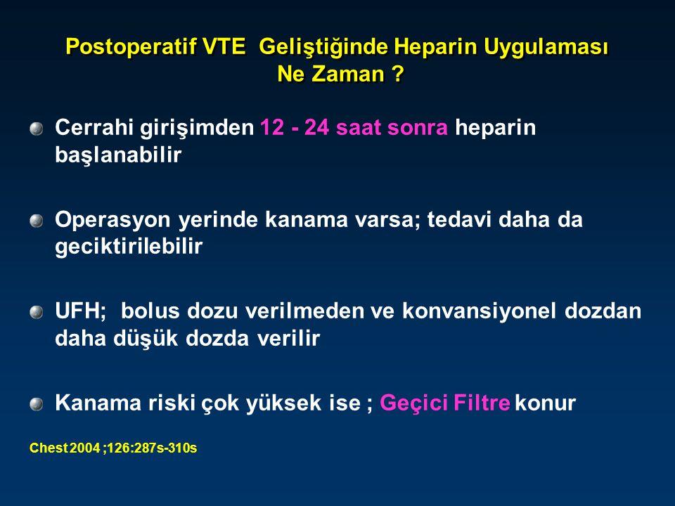 Postoperatif VTE Geliştiğinde Heparin Uygulaması Ne Zaman ? Cerrahi girişimden 12 - 24 saat sonra heparin başlanabilir Operasyon yerinde kanama varsa;