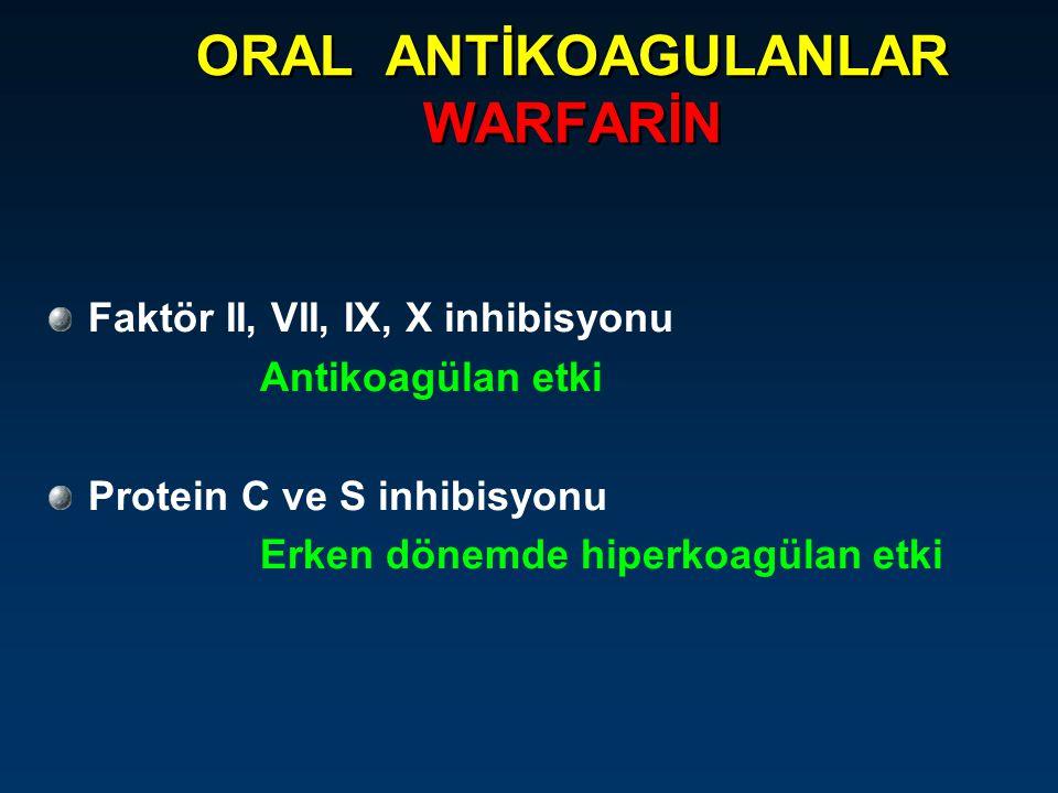 ORAL ANTİKOAGULANLAR WARFARİN Faktör II, VII, IX, X inhibisyonu Antikoagülan etki Protein C ve S inhibisyonu Erken dönemde hiperkoagülan etki