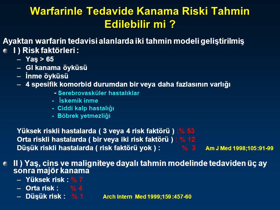 Warfarinle Tedavide Kanama Riski Tahmin Edilebilir mi ? Ayaktan warfarin tedavisi alanlarda iki tahmin modeli geliştirilmiş I ) Risk faktörleri : –Yaş