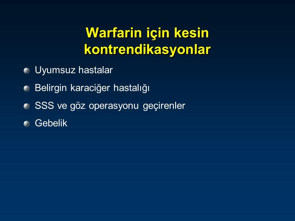 Warfarin için kesin kontrendikasyonlar Uyumsuz hastalar Belirgin karaciğer hastalığı SSS ve göz operasyonu geçirenler Gebelik