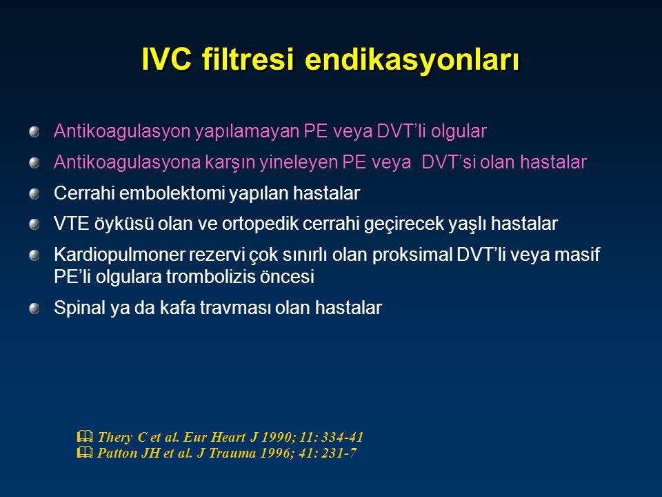 IVC filtresi endikasyonları Antikoagulasyon yapılamayan PE veya DVT'li olgular Antikoagulasyona karşın yineleyen PE veya DVT'si olan hastalar Cerrahi