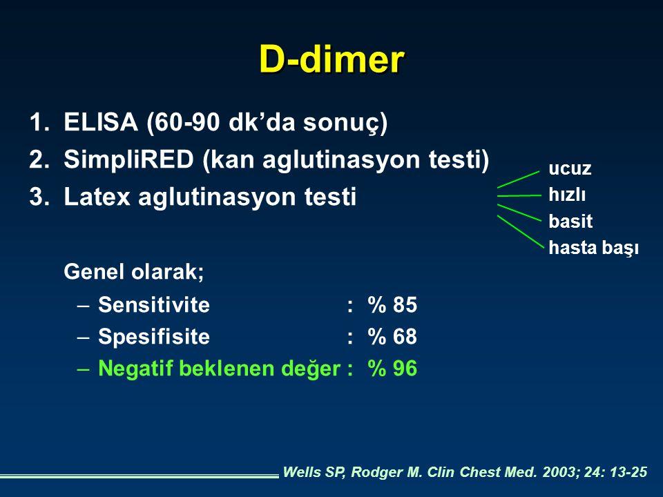 D-dimer 1.ELISA (60-90 dk'da sonuç) 2.SimpliRED (kan aglutinasyon testi) 3.Latex aglutinasyon testi Genel olarak; –Sensitivite:% 85 –Spesifisite:% 68