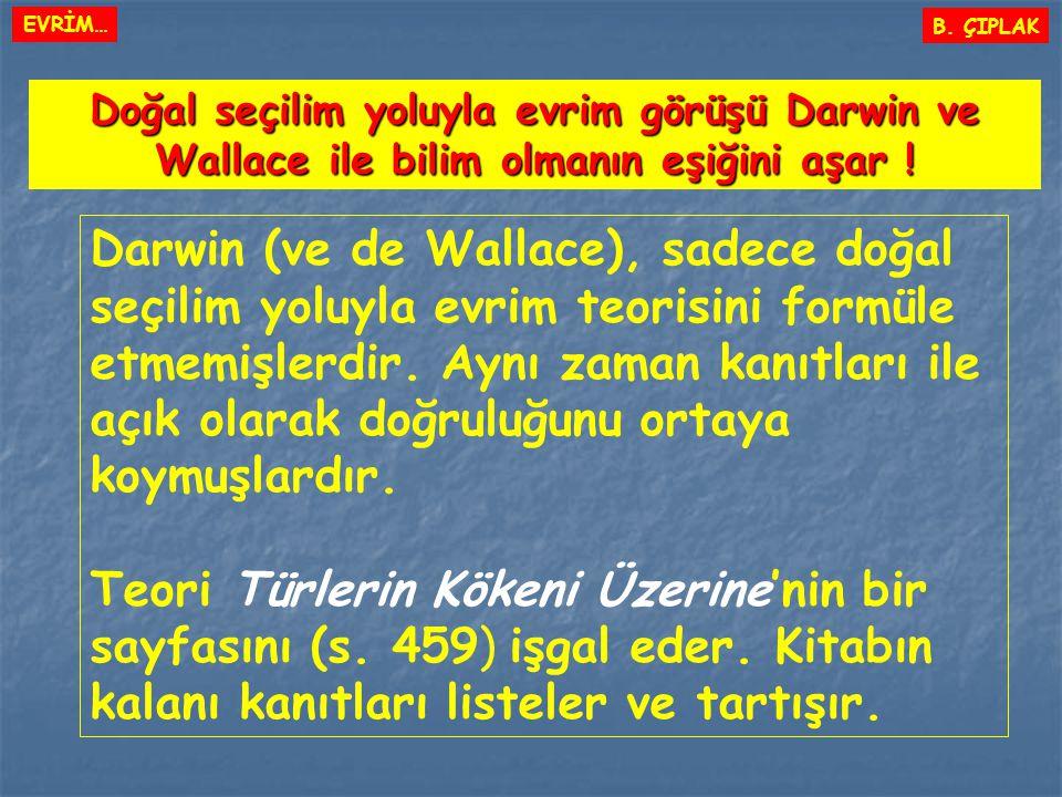 Darwin (ve de Wallace), sadece doğal seçilim yoluyla evrim teorisini formüle etmemişlerdir. Aynı zaman kanıtları ile açık olarak doğruluğunu ortaya ko