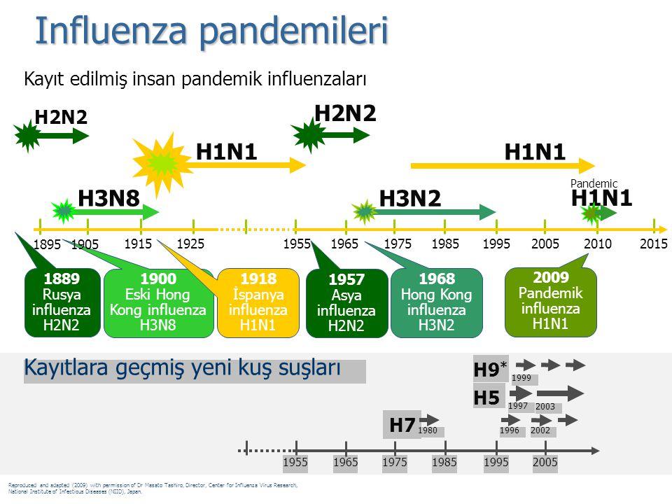 Influenza pandemileri H7 H5 H9 * 1980 1997 Kayıtlara geçmiş yeni kuş suşları 19962002 1999 2003 195519651975198519952005 H1N1 H2N2 1889 Rusya influenz