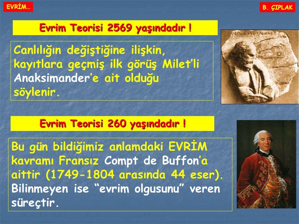 Canlılığın değiştiğine ilişkin, kayıtlara geçmiş ilk görüş Milet'li Anaksimander'e ait olduğu söylenir. Evrim Teorisi 2569 yaşındadır ! B. ÇIPLAK Evri