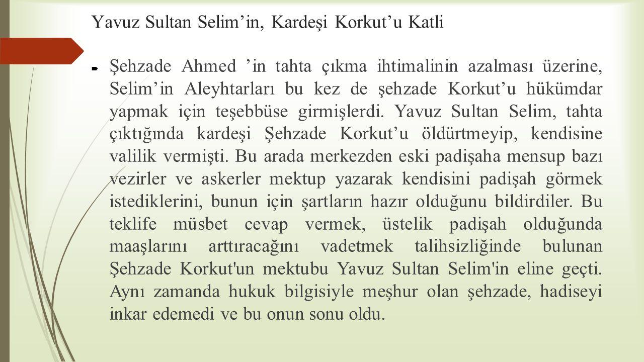 Yavuz Sultan Selim'in, Kardeşi Korkut'u Katli  Şehzade Ahmed 'in tahta çıkma ihtimalinin azalması üzerine, Selim'in Aleyhtarları bu kez de şehzade Ko