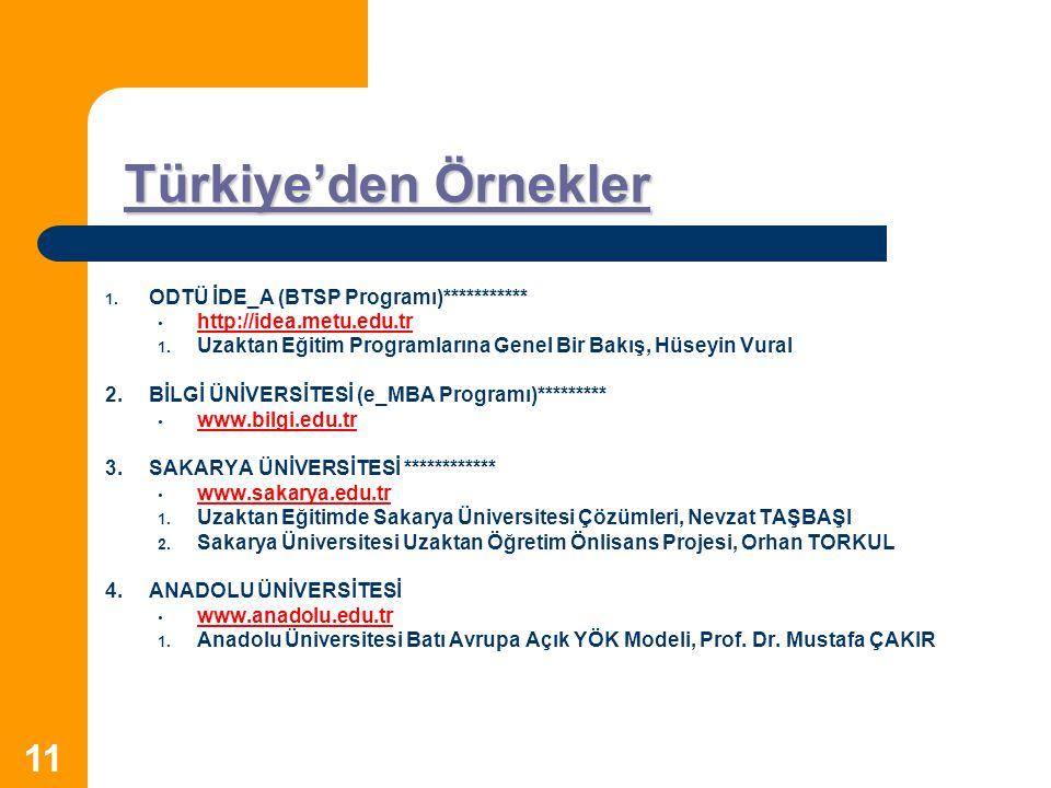 11 Türkiye'den Örnekler Türkiye'den Örnekler 1. 1. ODTÜ İDE_A (BTSP Programı)*********** http://idea.metu.edu.tr 1. 1. Uzaktan Eğitim Programlarına Ge