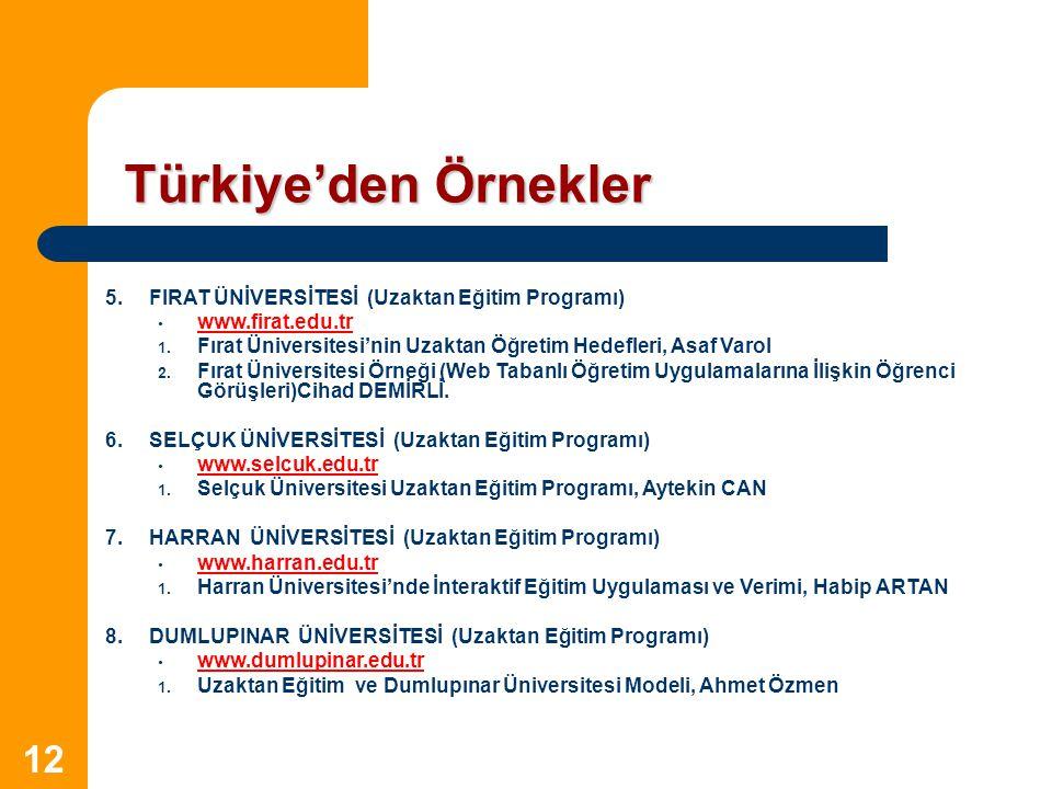 12 Türkiye'den Örnekler 5.FIRAT ÜNİVERSİTESİ (Uzaktan Eğitim Programı) www.firat.edu.tr 1. Fırat Üniversitesi'nin Uzaktan Öğretim Hedefleri, Asaf Varo