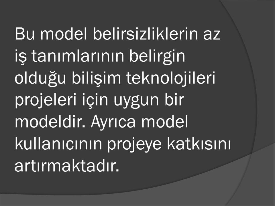Bu model belirsizliklerin az iş tanımlarının belirgin olduğu bilişim teknolojileri projeleri için uygun bir modeldir. Ayrıca model kullanıcının projey