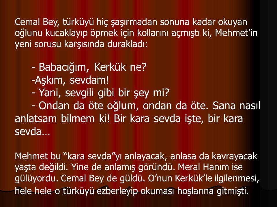 Cemal Bey, türküyü hiç şaşırmadan sonuna kadar okuyan oğlunu kucaklayıp öpmek için kollarını açmıştı ki, Mehmet'in yeni sorusu karşısında durakladı: - Babacığım, Kerkük ne.