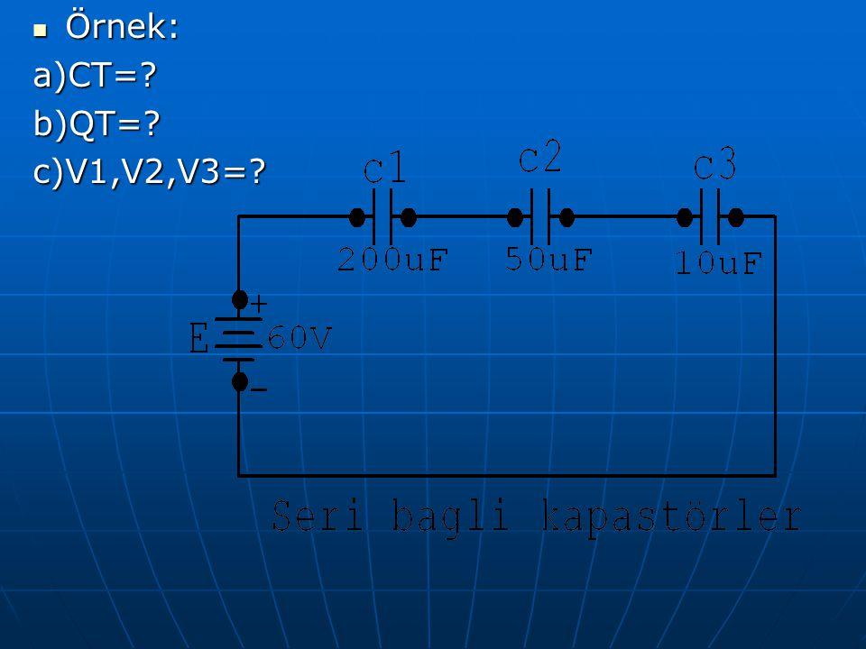 Örnek: Örnek:a)CT=?b)QT=?c)V1,V2,V3=?