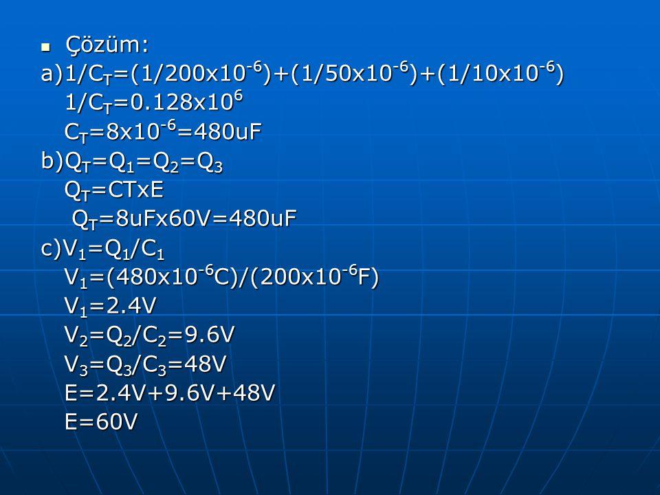 Çözüm: Çözüm: a)1/C T =(1/200x10 -6 )+(1/50x10 -6 )+(1/10x10 -6 ) 1/C T =0.128x10 6 1/C T =0.128x10 6 C T =8x10 -6 =480uF C T =8x10 -6 =480uF b)Q T =Q