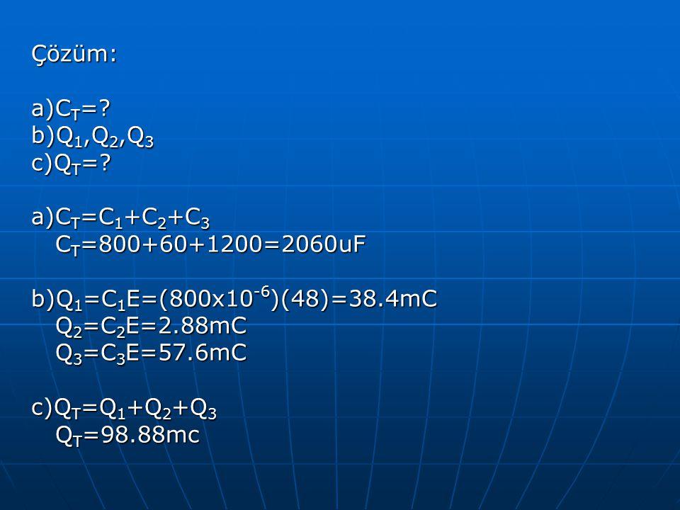 Çözüm: a)C T =? b)Q 1,Q 2,Q 3 c)Q T =? a)C T =C 1 +C 2 +C 3 C T =800+60+1200=2060uF C T =800+60+1200=2060uF b)Q 1 =C 1 E=(800x10 -6 )(48)=38.4mC Q 2 =