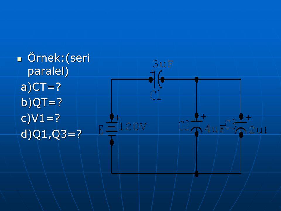 Örnek:(seri paralel) Örnek:(seri paralel) a)CT=? a)CT=? b)QT=? b)QT=? c)V1=? c)V1=? d)Q1,Q3=? d)Q1,Q3=?