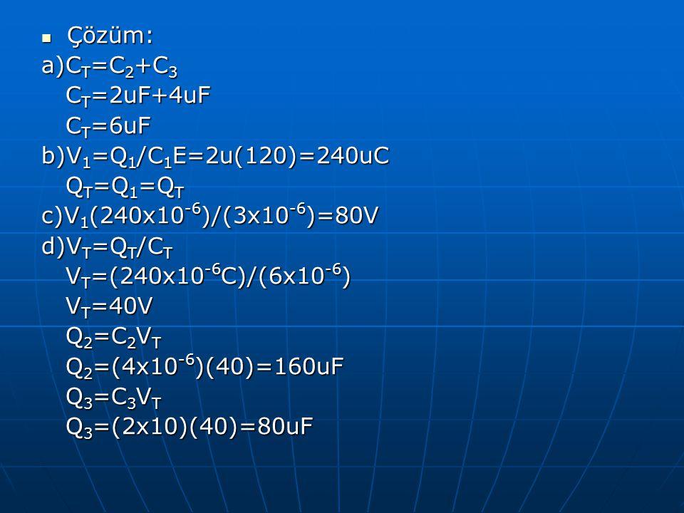 Çözüm: Çözüm: a)C T =C 2 +C 3 C T =2uF+4uF C T =2uF+4uF C T =6uF C T =6uF b)V 1 =Q 1 /C 1 E=2u(120)=240uC Q T =Q 1 =Q T Q T =Q 1 =Q T c)V 1 (240x10 -6