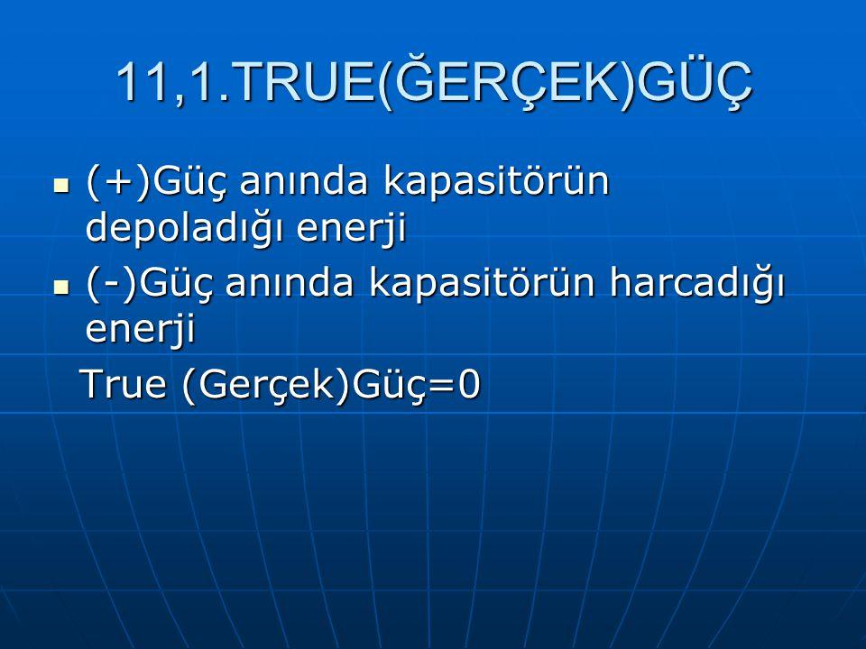 11,1.TRUE(ĞERÇEK)GÜÇ (+)Güç anında kapasitörün depoladığı enerji (+)Güç anında kapasitörün depoladığı enerji (-)Güç anında kapasitörün harcadığı enerj