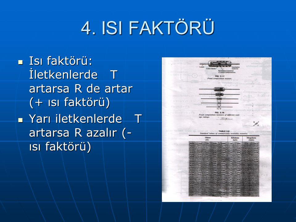 4. ISI FAKTÖRÜ Isı faktörü: İletkenlerde T artarsa R de artar (+ ısı faktörü) Isı faktörü: İletkenlerde T artarsa R de artar (+ ısı faktörü) Yarı ilet